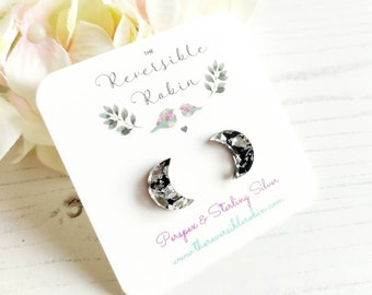 Moon Stud Earrings, Laser Cut perspex and Sterling Silver backs, Unique Colourful Devine Jewellery