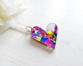 Heart pendant, Laser cut Acrylic necklace, Glitter acrylic, Anniversary, Mothers Day Gift, gift for girlfriend, beat friend