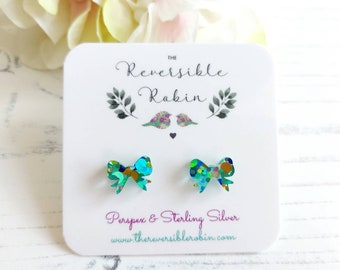 Bow Stud Earrings, Laser Cut perspex and Sterling Silver, Unique, Colourful Bird Jewellery