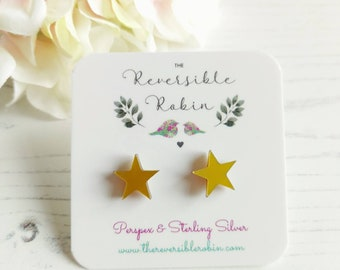 Glitter Star Stud Earring Studs, Laser cut perspex and Sterling SIlver, Simple, Quirky Jewellery