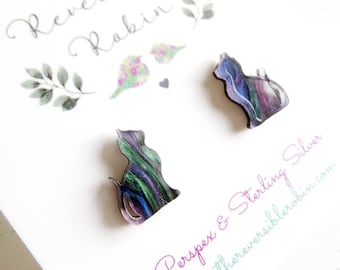 Cat Stud Earrings, Laser Cut glitter perspex and Sterling Silver kitten earrings