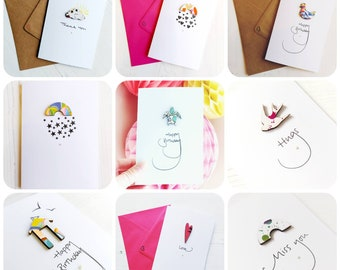 Mix and Match any x4 Cards of your choice. Greetings Cards, Birthday Card, Anniversary Card, Wedding Card, New Home, Anniversary, Laser Cut