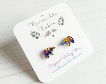 Bear Laser cut stud earrings perspex and Sterling Silver, Simple, Quirky Jewellery.