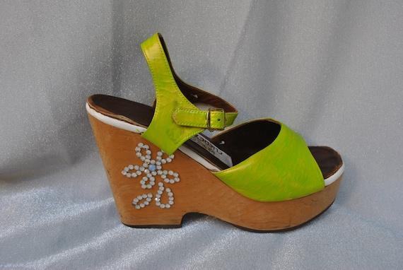 1970s Lime Green Rhinestoned Platform Shoes