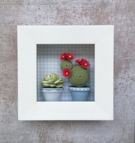 Succulent Frame Paper Art Shadow Box Quilling Cactuses 3d Etsy