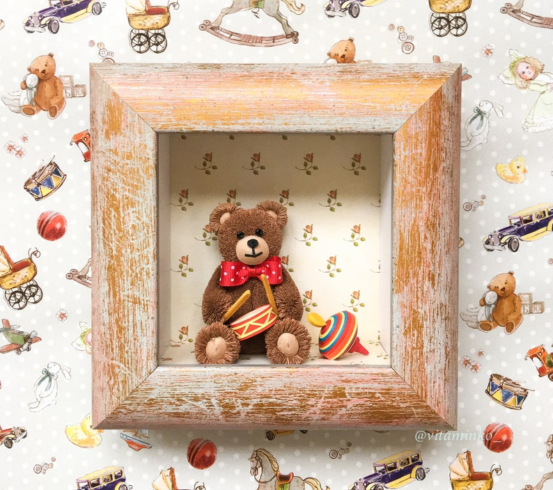 Little brown paper teddy bear Christmas shadow box Unusual gift Quilling art Birthday gift.