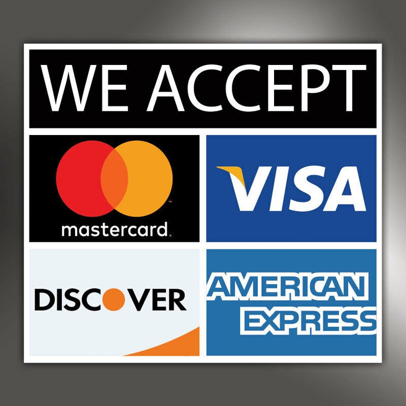 Who Accepts American Express >> We Accept Visa American Express Mastercard Discover Credit Etsy