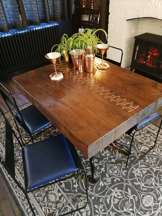 Industrial metal brass/copper stitch four seat dining kitchen table 4 chairs