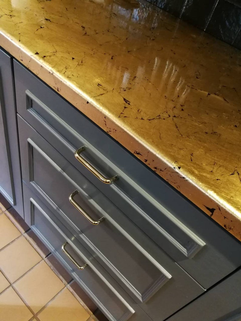 Plan De Travail Cuivre gold brass or copper leaf kitchen worktop sealed with resin