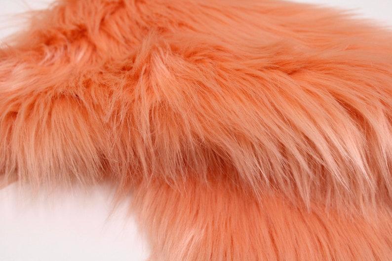 2 Pile Faux Fur Fabric Fur Fabric Sheets Shaggy Long Pile Fabric DIY Gnome Craft Material Supplies Vegan Animal Fur PEACH Faux Fur