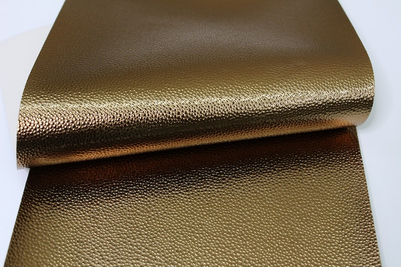 METALLIC DARK GOLD Faux Leather Sheets Leather for Earrings A73 Craft Supplies Gold Glossy Pebble Texture Leather Fabric Sheet