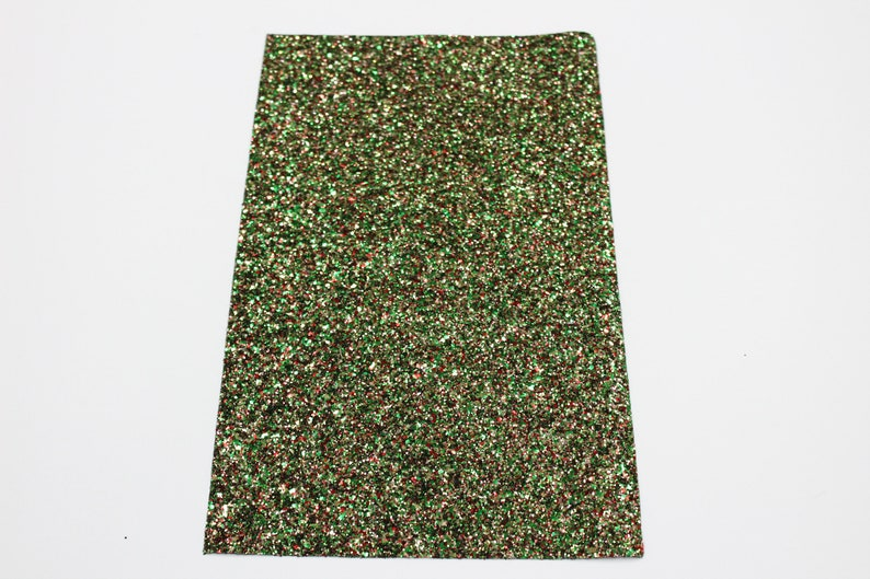 Glitter Sheets CHRISTMAS TREE Chunky Glitter Sheet Chunky Glitter Fabric Supplies for Earrings /& Bows Red Green Gold Glitter Fabric Sheet