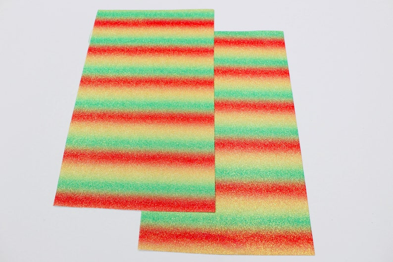 RED GREEN YELLOW Fine Glitter Canvas Sheet Fine Glitter Hair Bow Earring Material Glitter Canvas Fabric Sheet 7.5x13 Glitter Sheets