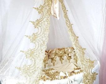 Stokke Sleepi Bedding, Stokke Sleepi Bedding, Baby girl crib bedding set for round crib: crib bumper and crib canopy Girl Crib Bedding Set