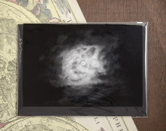 """Folded Card """"Empyrean Eye"""", moonlit clouds card, greeting postcard, full moon art, mindful night sky photography, Nocturnal Mood Of Time"""