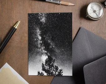 """Folded Card """"The Celestial Burning Bush"""", birthday, celebration, anniversary, mindful astrophotography postcard, Nocturnal Mood Of Time"""