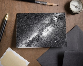"""Folded Card """"Milky Way Galaxy"""", greeting, birthday, anniversary, thank you card, poetic & mindful astrophotography, Nocturnal Mood Of Time"""