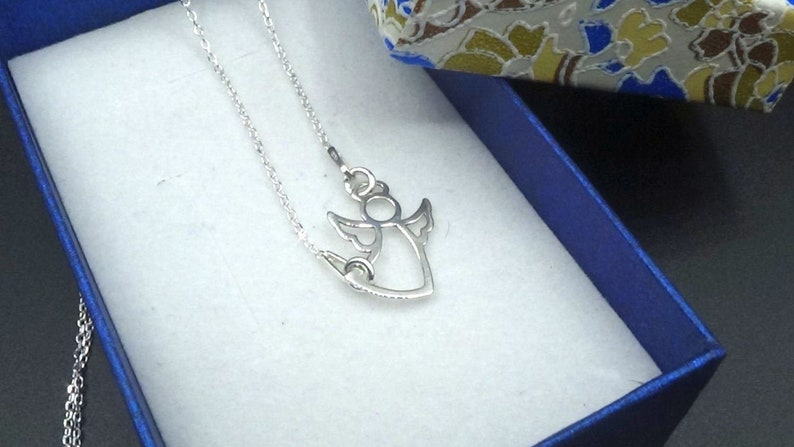 Silver Sterling 925 Necklace Summer sale Silver Angel Necklace Guardian Angel Necklace
