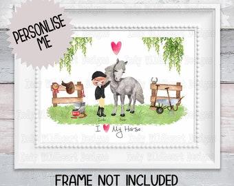 Custom Horse Print, Personalised present, Gift for Her, Birthday Gift, Gift for Horse Lover, Best Friend Gift, Personalised Horse Print