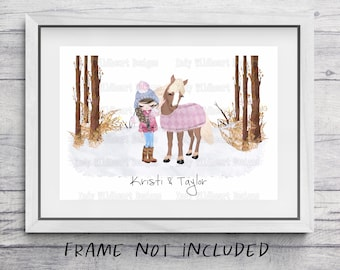 Custom horse print, personalised Christmas gift for her, gift for horse lover, gift for best friend, Christmas gift for daughter, sister