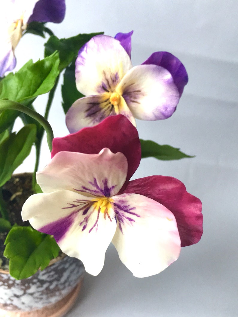 Pansy flower arrangement Plant in the pot Polymer clay flower Housewarming gift