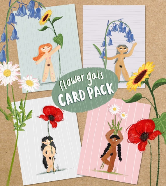 Flower Girl Female Empowerment Greetings Card Multi-Pack - Four Eco Blank Cards for Any Occasion