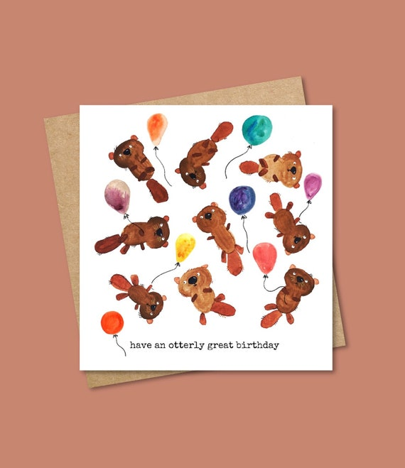 Otter Birthday Card - Birthday - Celebration - Animal Card - Eco Friendly