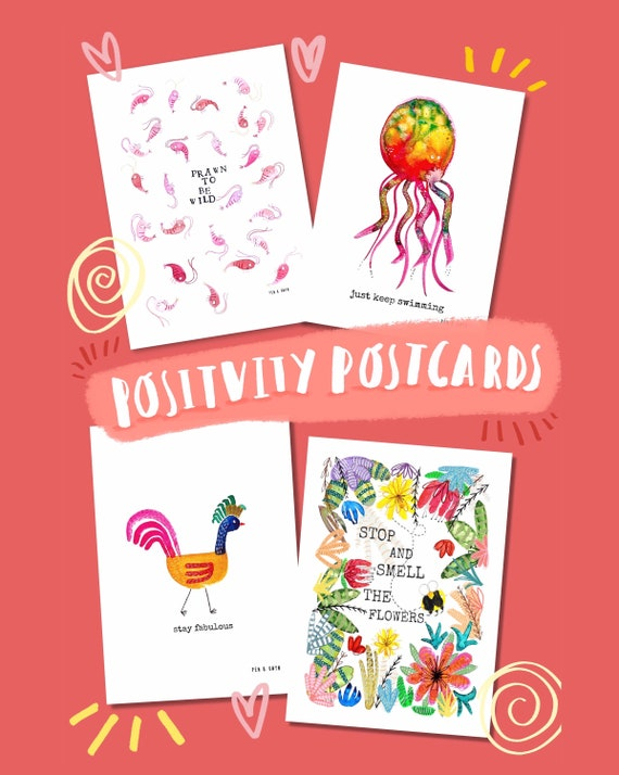 Positivity Postcards - 4 pack of 100% Recycled Postcards with Positive Message for Friends and Family.