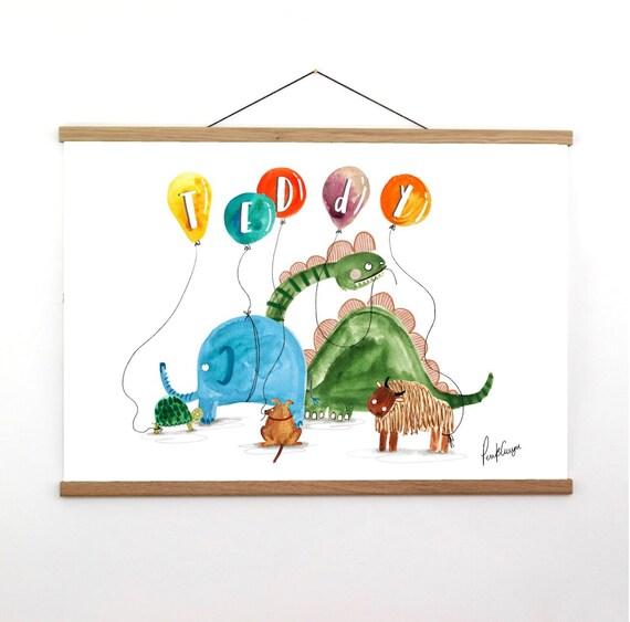 Bespoke Children's Name Illustration - Colourful, animal themed nursery art.