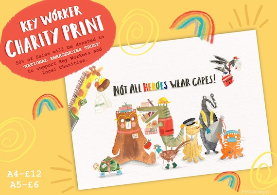 Key Worker Charity Animal Print - Inspirational Quote Print - Cute Animal Rainbow Print