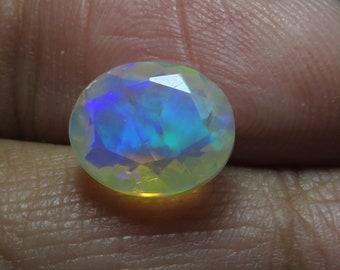 Ethiopian Opal Faceted Faceted loose gemstone welo fire Opal 7.5x10x4 Natural Ethiopian Opal Cut Ethiopian White Opal