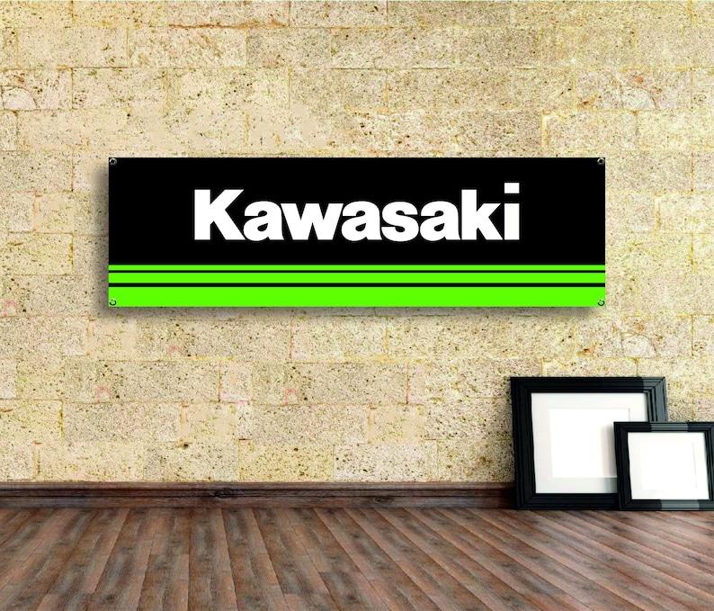 Kawasaki  Logo Banner Vinyl,Garage Sign,office or showroom,Flag,Racing Poster,Auto Car Shop,Car Poster Garage Decor workshop Gift