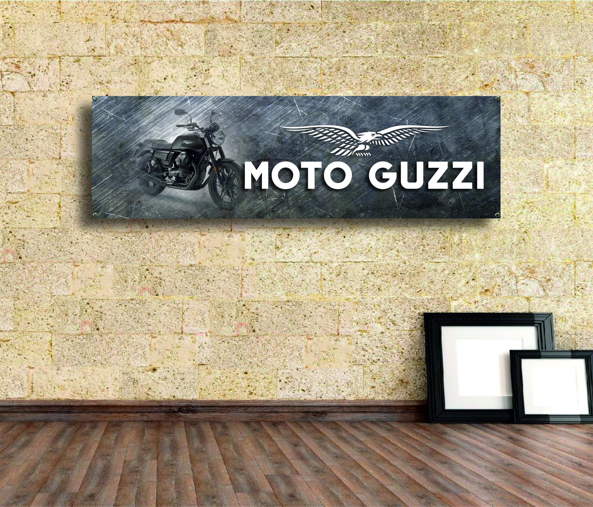 Moto Guzzi Logo Banner VinylGarage Signoffice Or