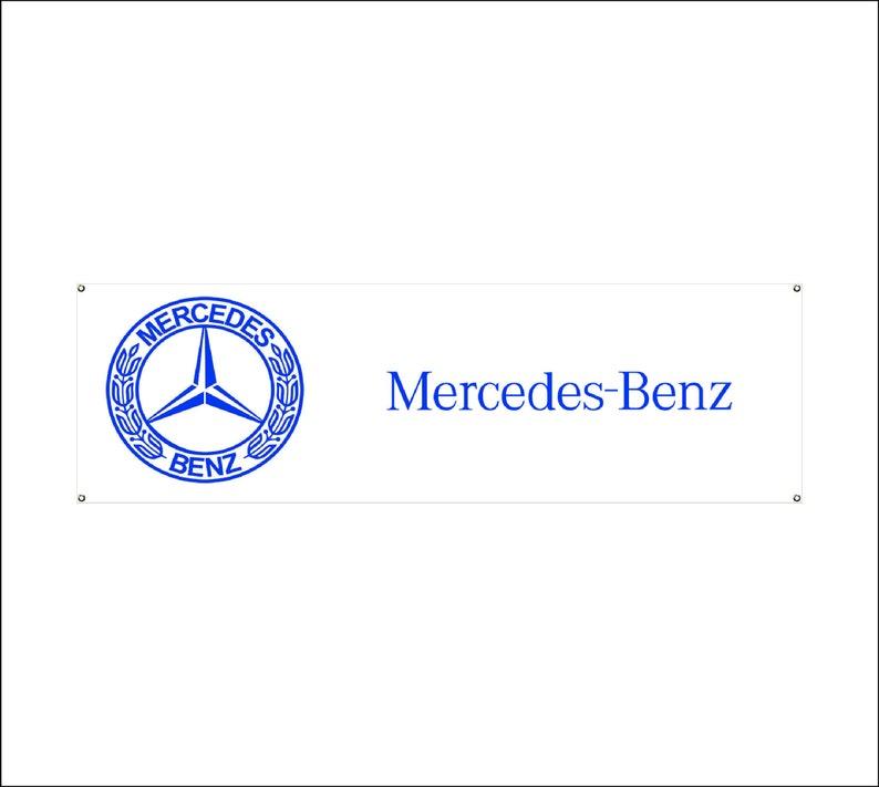 workshop Mercedes   Logo Banner Vinyl,Garage Sign,office or showroom,Flag,Racing Poster,Auto Car Shop,Car Poster Garage Decor Gift