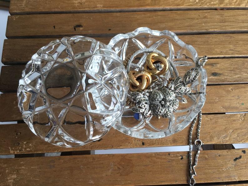 Vintage Clear Cut Glass trinket box.