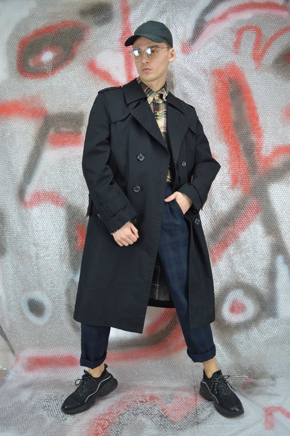 Vintage black classic 80's long trench coat