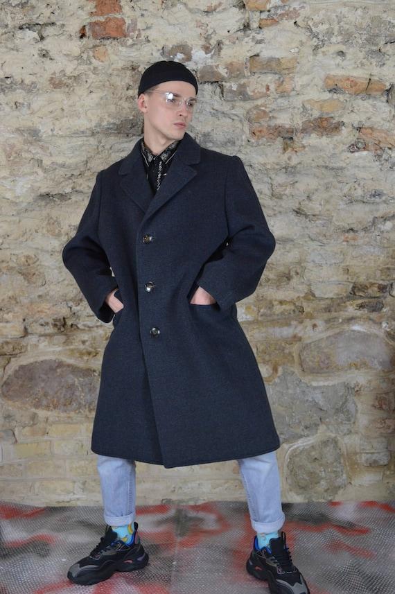 Vintage dark grey wool classic long coat
