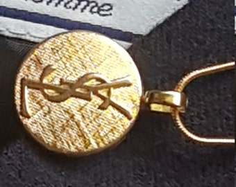 101299bc8ec Cute 15mm Gold Yves Saint Laurent (YSL) Repurposed Upcycled Button Handmade  Necklace/Chain