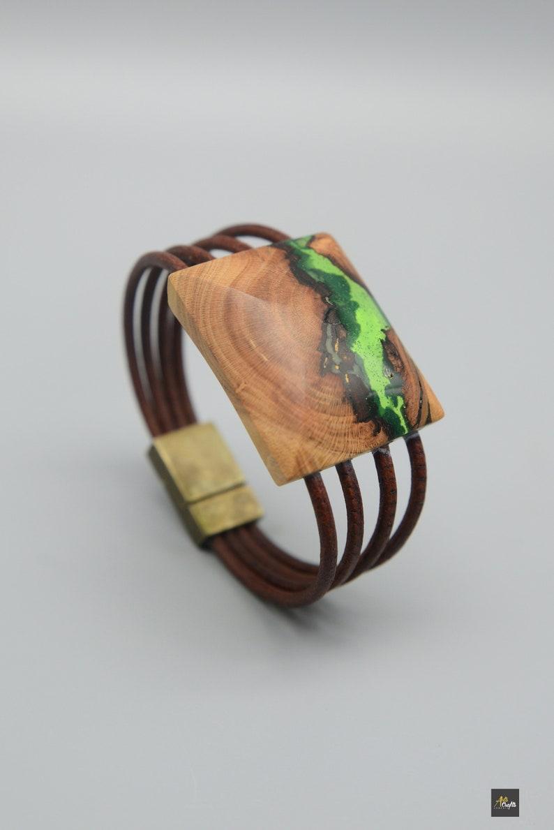 Wood Epoxy Bracelet Green Wooden Leather Bracelet Nature jewelry Gift for Yoga Mystique jewelry Art Bangle
