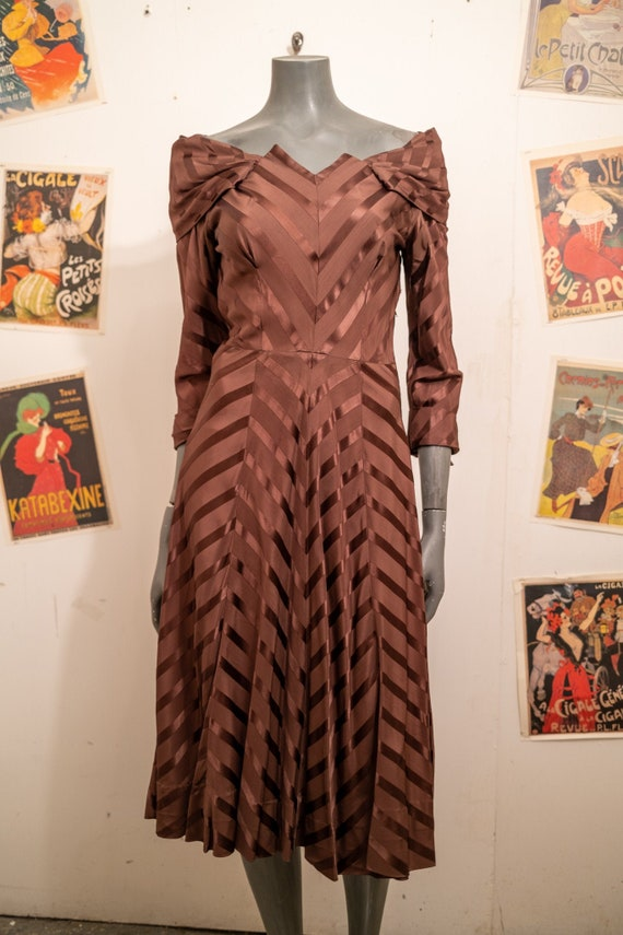 1940's Chocolate Chevron Dress