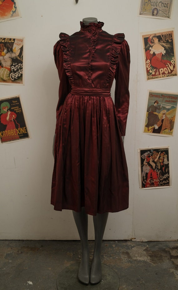 1980s Radley Burgundy Dress