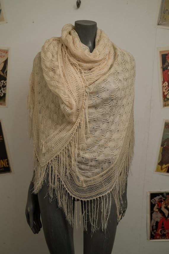 Victorian Cream Silk Shawl
