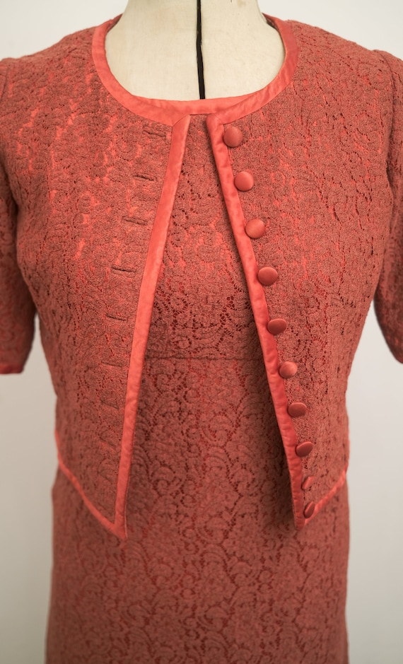 1950's Red Lace Dress and Jacket Lined