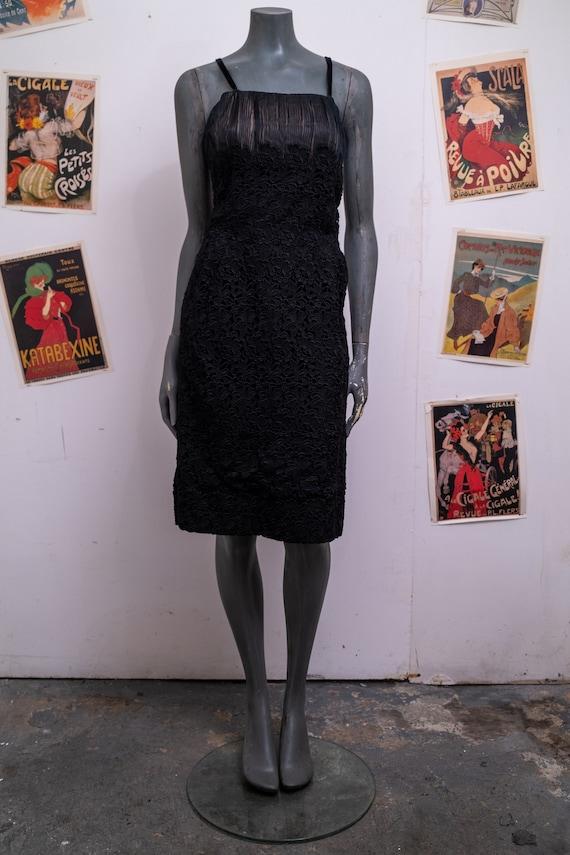 1950s Slip Black Lace Dress