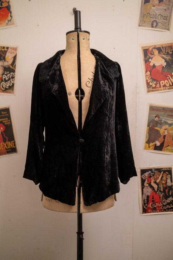 1920s Silk Velvet Oversize Jacket