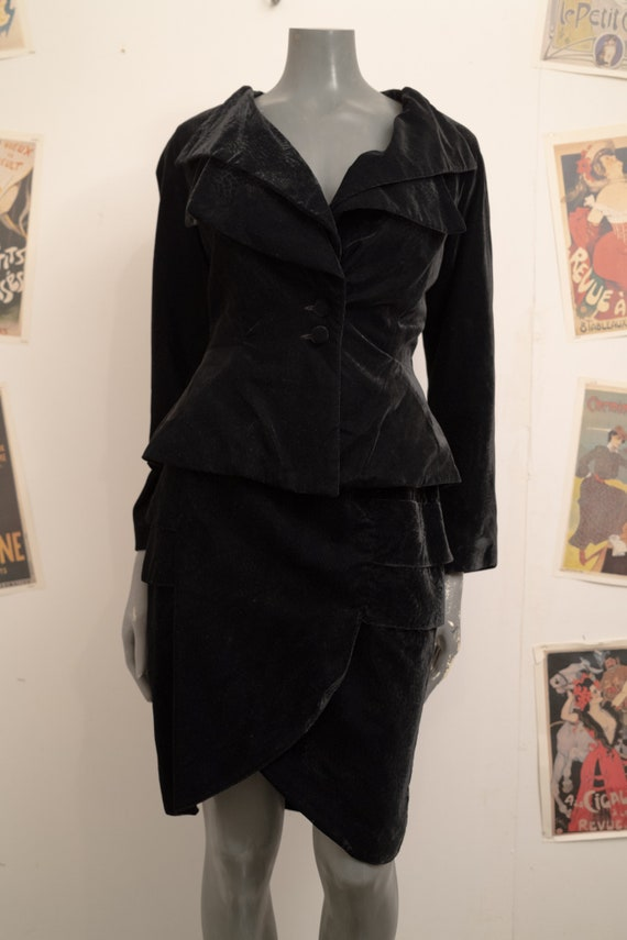 Walls 1980s Black Velvet Suit
