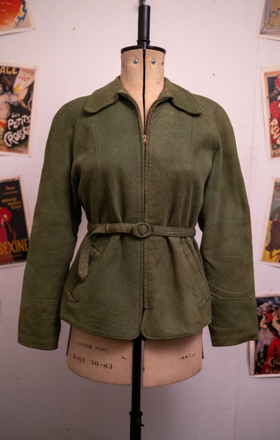 1950s Green Suede Leather Jacket