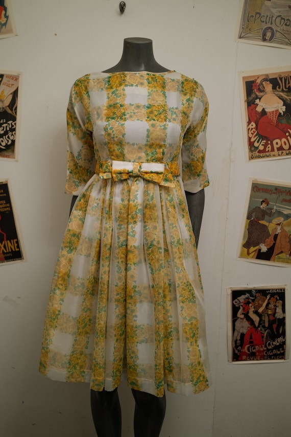 1950s Yellow Floral Dress
