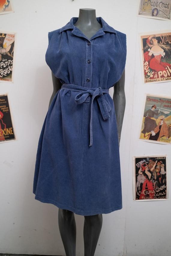 1990s Blue Corduroy Dress with Pockets
