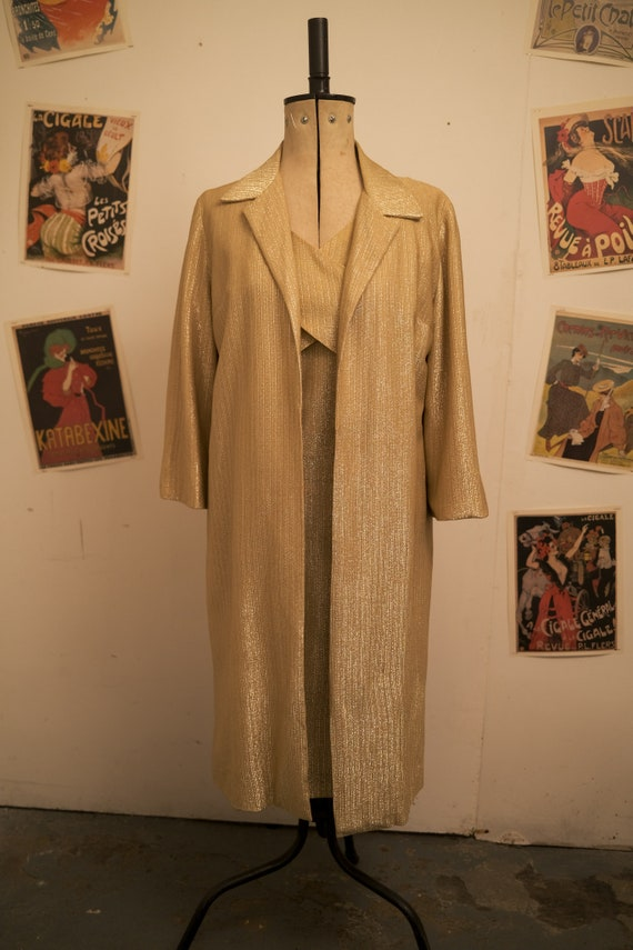 1950s Lurex Gold Two-Piece Dress and Jacket